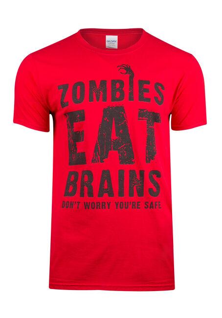 Men's Zombies Eat Brains Tee, CHERRY RED, hi-res