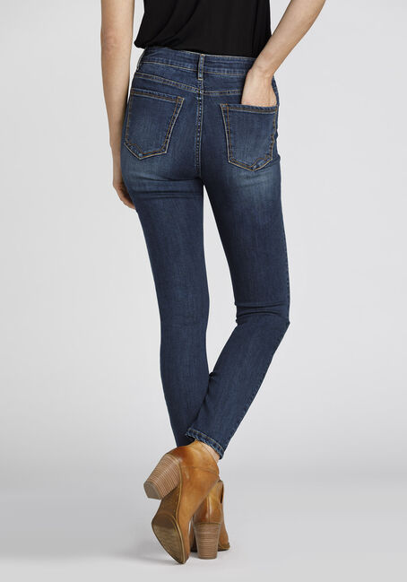 Ladies' Retro High Rise Skinny Jeans, DARK WASH, hi-res