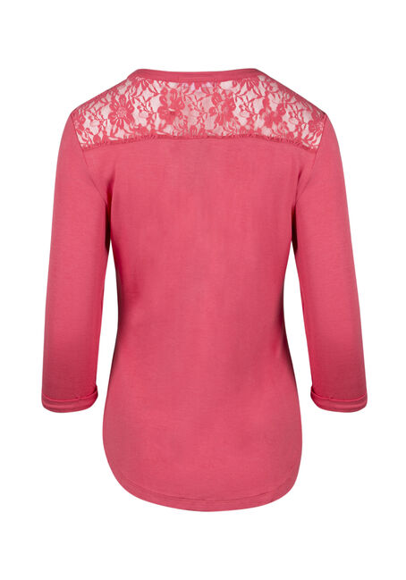 Ladies' Lace Insert Henley Tee, CORAL, hi-res