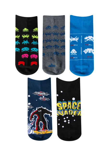 Men's 5 Pair Space Invaders Socks, MULTI, hi-res