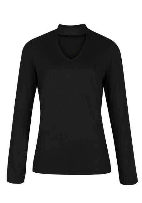 Ladies' Rib Knit Choker Top, BLACK, hi-res