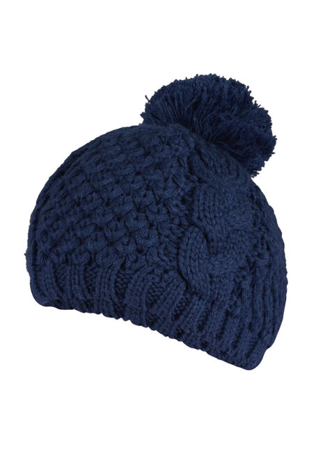Ladies' Pom Pom Beret, NAVY, hi-res