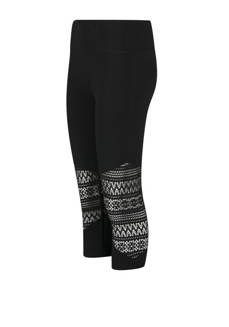 Ladies' Aztec Cut Out Capri Legging, BLACK, hi-res