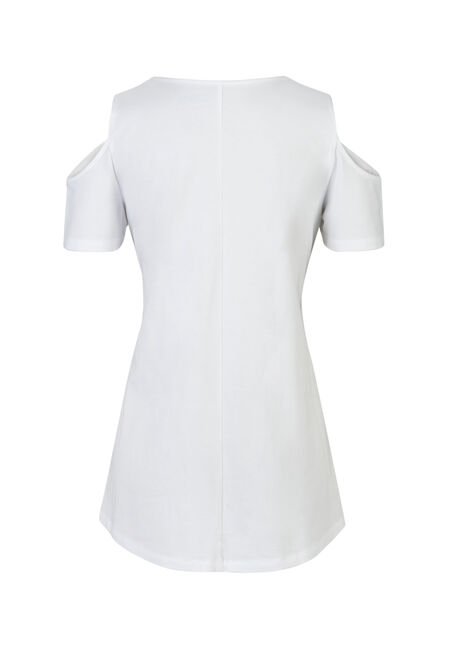 Ladies' Cold Shoulder Tee, WHITE, hi-res
