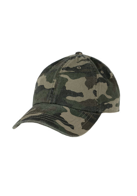 Ladies' Camo Baseball Hat, DARK OLIVE, hi-res