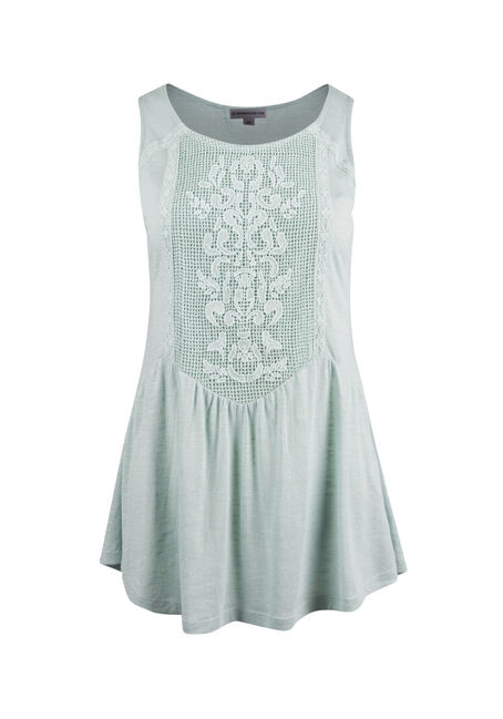 Ladies' Tonal Lace Peplum Tank