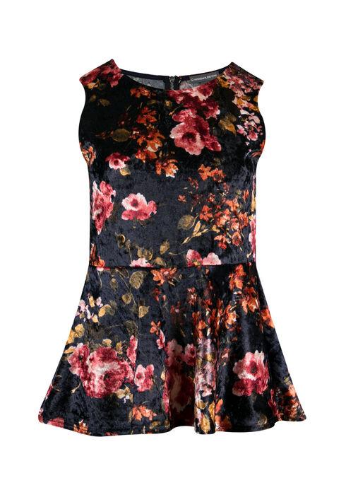 Ladies' Floral Velvet Peplum Tank, MAUVE, hi-res