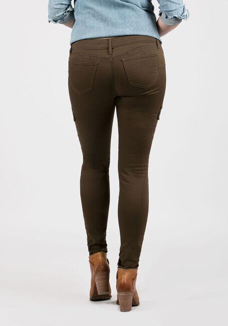 Ladies' Skinny Cargo Pants, OLIVE, hi-res