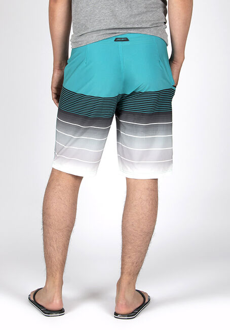 Men's Ombre Stripe Board Short, TEAL, hi-res