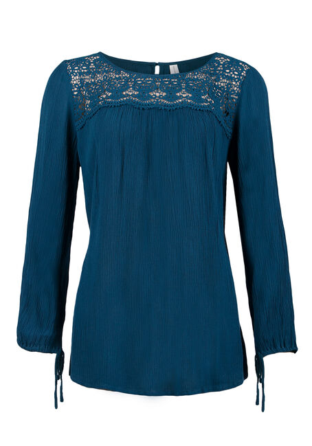 Ladies' Crinkle Top, MIRAGE BLUE, hi-res