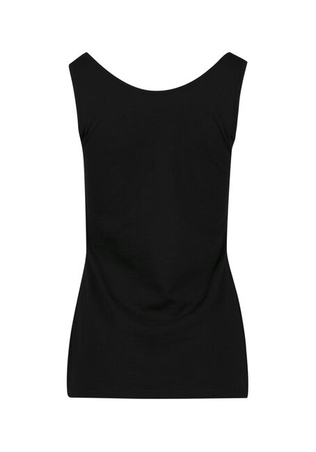 Ladies' Scoop Neck Tank, BLACK, hi-res