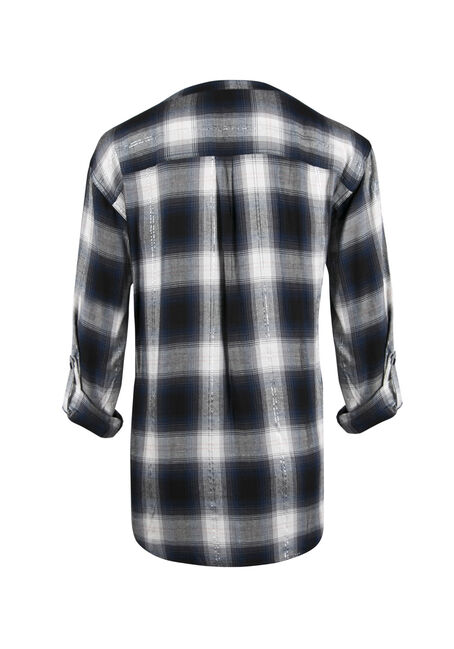 Ladies' Plaid Boyfriend Fit Top, MOONLIGHT BLUE, hi-res