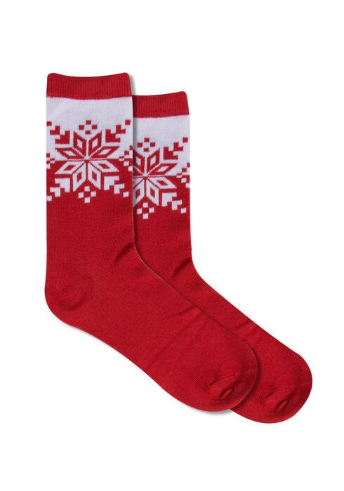 Ladies' Holiday Sweater Ornament Socks, SNOWFLAKE, hi-res