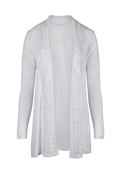 Ladies' Lace Trim Cardigan, WHITE, hi-res