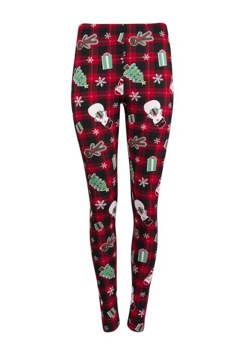 Ladies' Plaid Holiday Legging, RED, hi-res