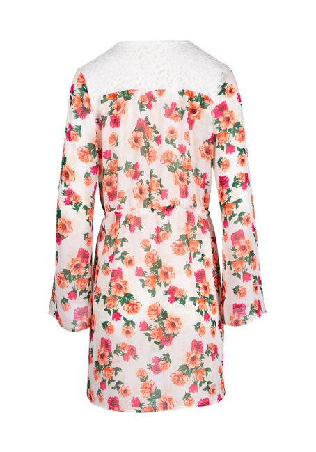 Ladies' Tie Front Kimono, WHITE, hi-res