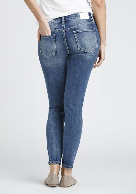 Ladies' Destroyed Skinny Jean, MEDIUM VINTAGE WASH, hi-res