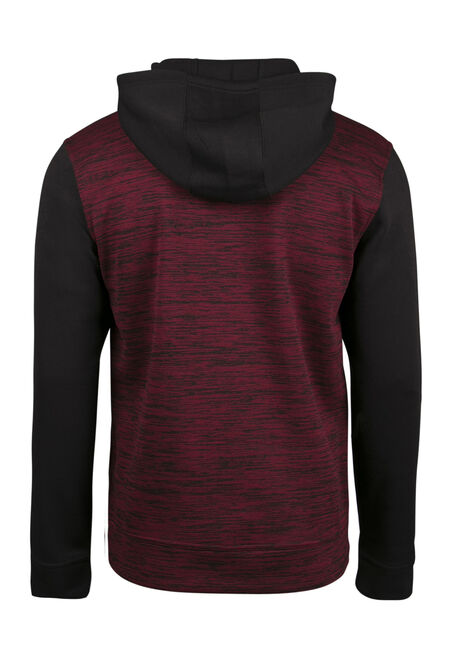 Men's Colour Block Popover Hoodie, BURGUNDY, hi-res