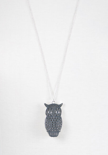 Ladies' Layered Owl Necklace, RHODIUM, hi-res