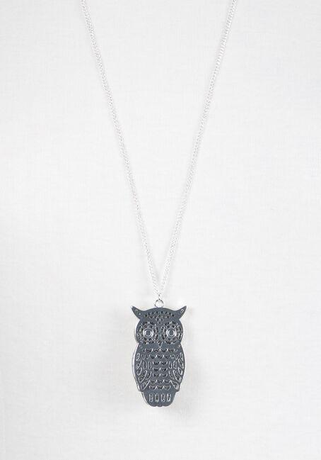 Ladies' Layered Owl Necklace, RHODIUM, hi-res