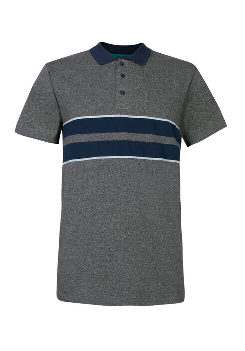 Men's Striped Polo, HEATHER GREY, hi-res