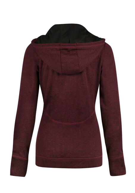 Ladies' Contrast Trim Hoodie, WINE/BLACK, hi-res