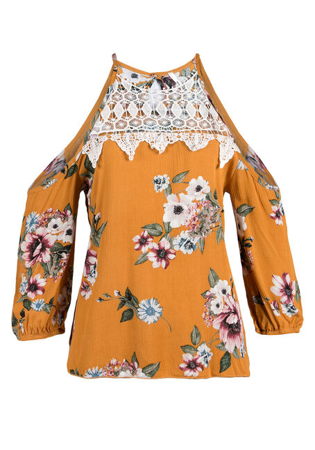 Ladies' Floral Cold Shoulder Top, MUSTARD, hi-res