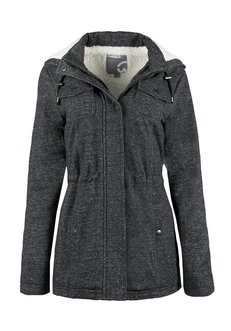 Ladies' Sherpa Lined Anorak Jacket, BLK/WHT, hi-res