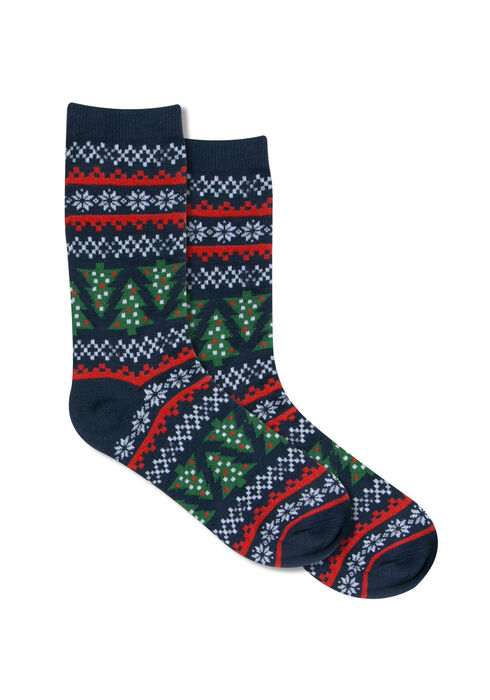Ladies' Holiday Sweater Ornament Socks, CHRISTMAS TREE, hi-res