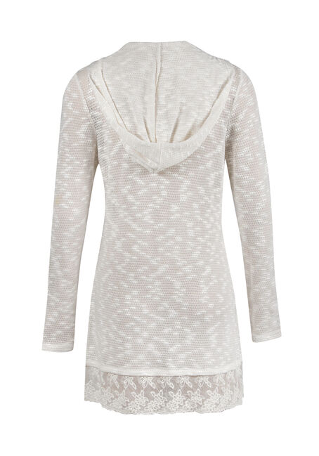 Ladies' Lace Hem Open Cardigan, IVORY, hi-res