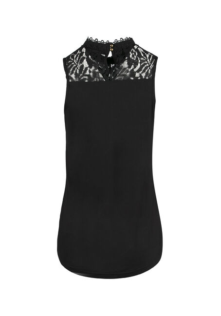 Ladies' Floral Mock Neck Tank, BLACK, hi-res