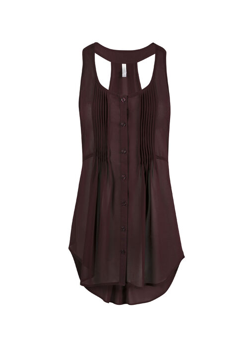 Ladies' Pleat Front Tunic Tank, MULBERRY, hi-res