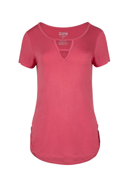 Ladies' Cage Neck Ruched Side Tee