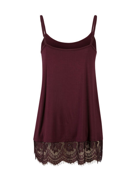 Ladies' Lace Trim Tunic Tank, MULBERRY, hi-res