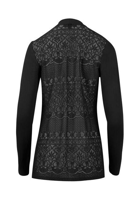Ladies' Lace Back Open Cardigan, BLACK, hi-res