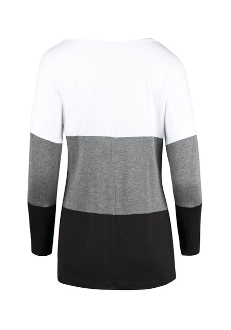 Ladies' Colour Block Tunic Top, WHITE, hi-res