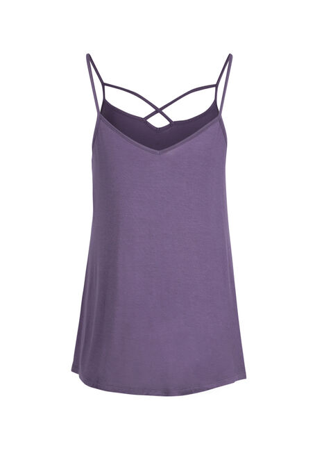 Ladies' Cage Neck Strappy Tank, DAHLIA, hi-res