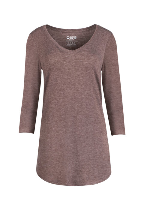 Ladies' Tunic Tee, HEATHER BROWN, hi-res