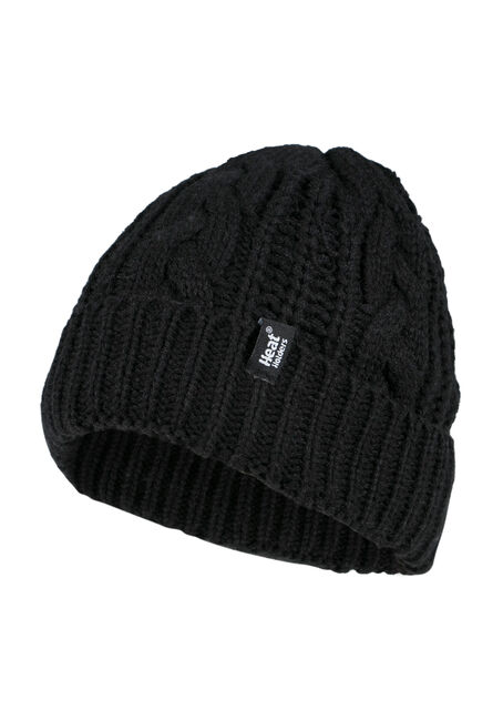 Ladies' Thermal Cuffed Hat, BLACK, hi-res