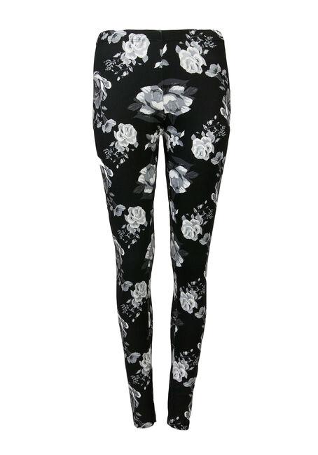 Ladies' Floral Print Legging, BLK/WHT, hi-res