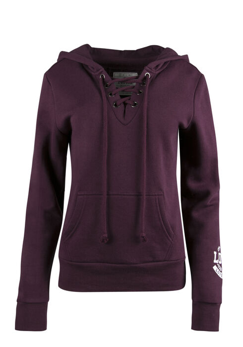 Ladies' Lace Up Hoodie, PLUM, hi-res