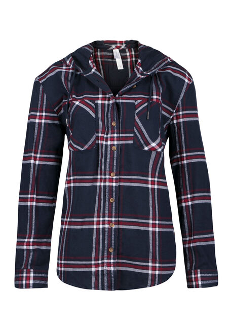 Ladies' Hooded Boyfriend Flannel Shirt, INDIGO, hi-res