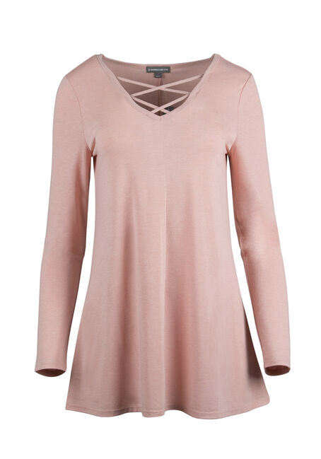 Ladies' Cage Neck Tunic Tee, PEACH, hi-res