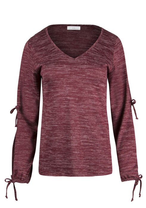 Ladies' Tie Sleeve Top, BURGUNDY, hi-res