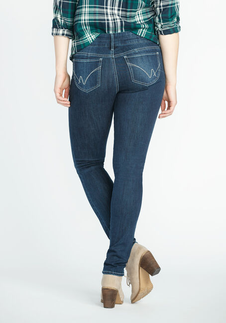 Ladies' Skinny Jeans, DARK VINTAGE WASH, hi-res