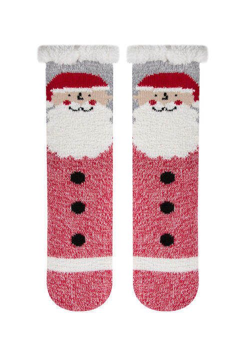 Ladies' Santa Slipper Socks, RED, hi-res