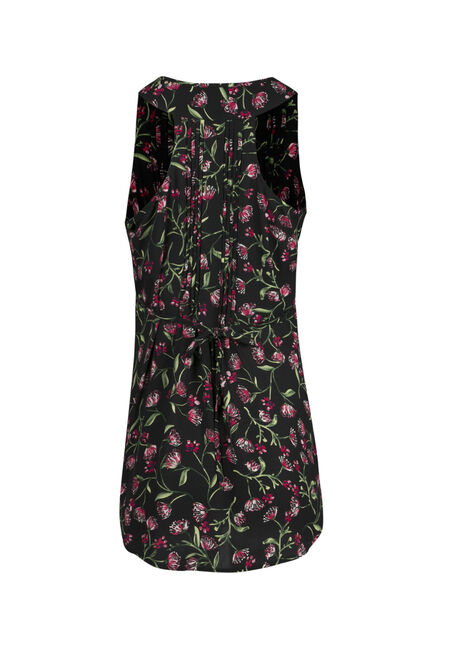 Ladies' Floral Tunic Tank, BLACK, hi-res