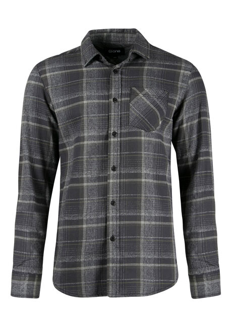 Men's Flannel Shirt, DARK OLIVE, hi-res