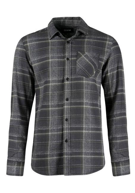 Men's Flannel Shirt, DARK OLIVE, hi-res