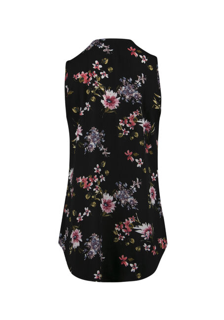 Ladies' Half Zip Floral Tank, BLACK, hi-res